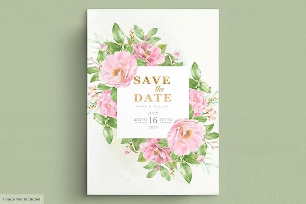 Cartão de convite de flores de camélia em aquarela Vetor grátis