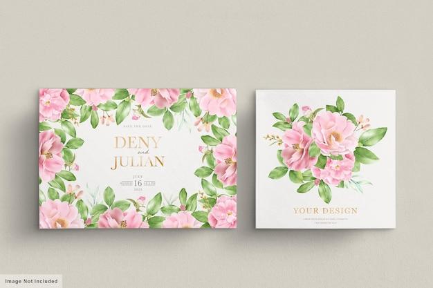 Cartão de convite de flores de camélia em aquarela Vetor Premium