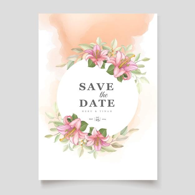 Cartão de convite de flores de lírio floral lindo Vetor grátis