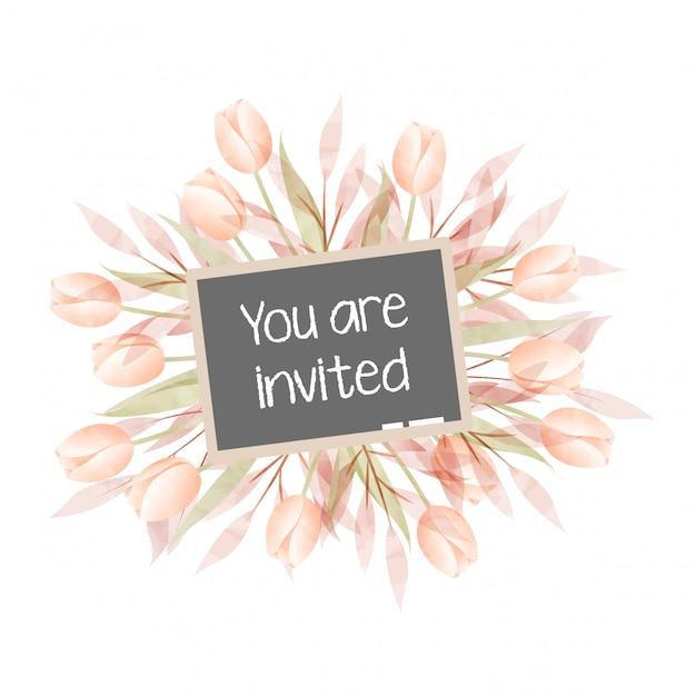 Cartão de convite de moldura floral aquarela Vetor Premium
