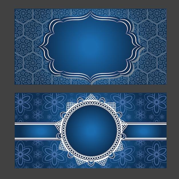 Cartão de convite design vintage com padrão de mandala em fundo roxo Vetor Premium