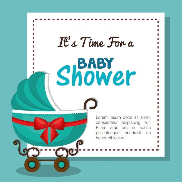 Cartão de convite do chuveiro de bebê com design de carruagem azul Vetor Premium