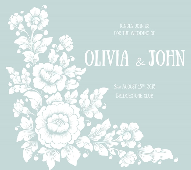 Cartão de convite e anúncio de casamento com design floral Vetor grátis