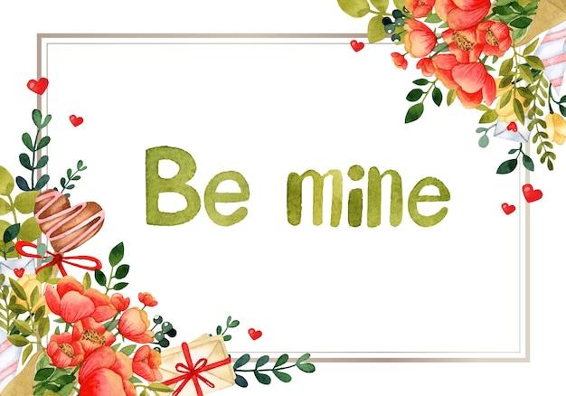 Cartão de convite em aquarela com moldura romântica para dia dos namorados Vetor Premium