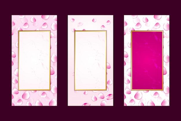 Cartão de convite fundo rosa pétalas de rosa mármore Vetor Premium