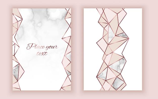 Cartão de convite geométrico, textura de mármore Vetor Premium