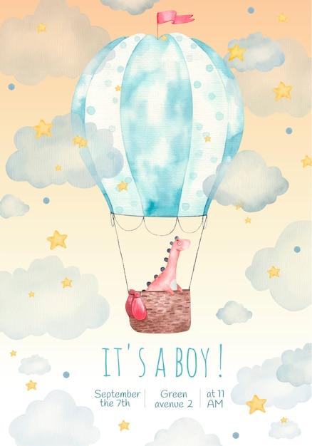 Cartão de convite infantil para uma festa infantil, é um menino, ilustração em aquarela, fofo, dinossauro em um balão nas estrelas e nuvens, pintura Vetor Premium
