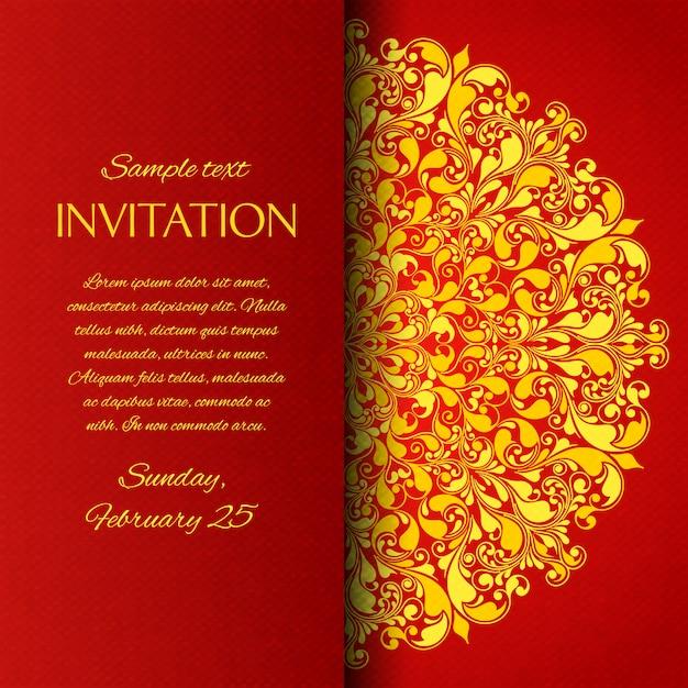 Cartão de convite ornamentais vermelho Vetor grátis