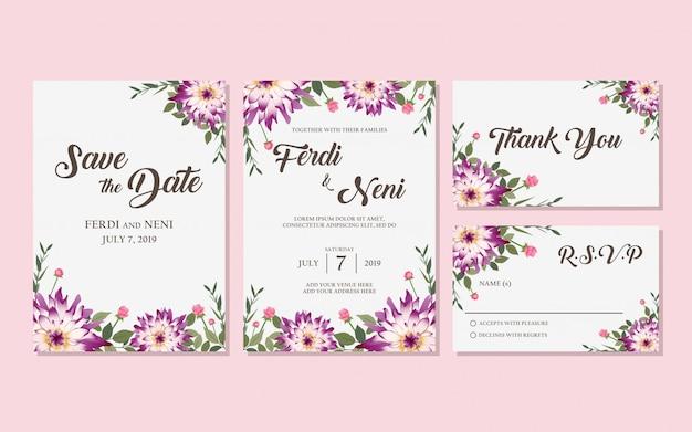 Cartão de convite roxo de casamento Vetor Premium