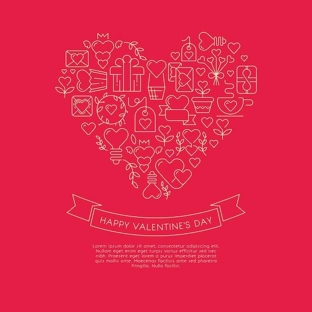 Cartão de cor vermelha e branca com um coração gigante que consiste em muitos envelopes, presentes, símbolos e desejos semelhantes com feliz dia dos namorados Vetor grátis