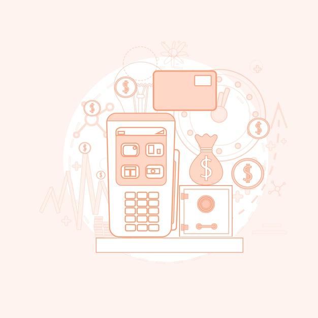 Cartão de crédito bancário nfc terminal checkout Vetor Premium