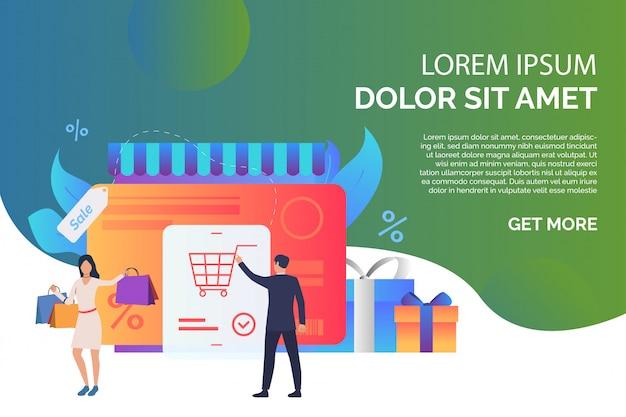 Cartão de crédito com compradores e ilustração de página de caixas de presente Vetor grátis