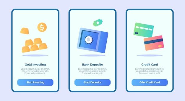 Cartão de crédito de depósito bancário de investimento em ouro para aplicativos móveis interface de usuário da página de banner Vetor Premium