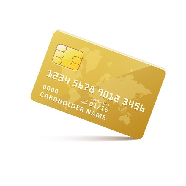 Cartão de crédito de ouro do ícone Vetor Premium
