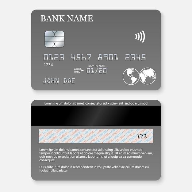 Cartão de crédito detalhado realista. Vetor Premium