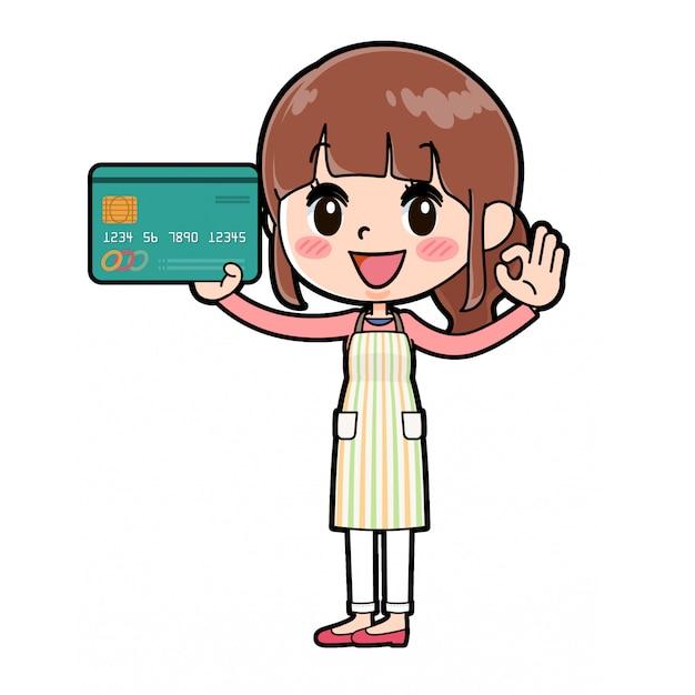 Cartão de crédito mãe mãe avental Vetor Premium