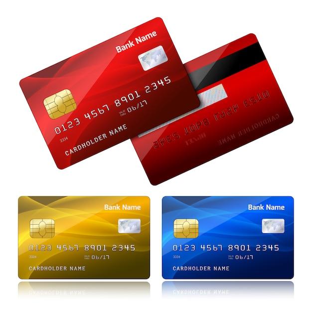 Cartão de crédito realista com chip de segurança Vetor grátis