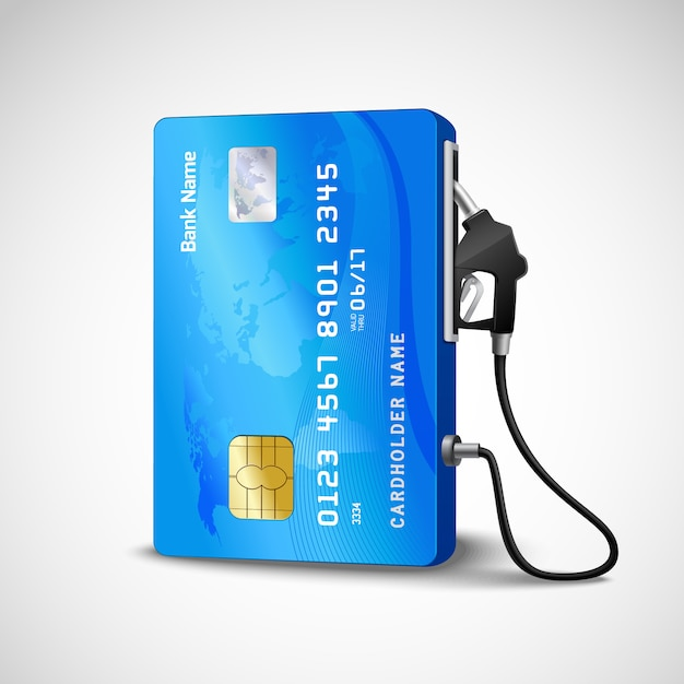 Cartão de crédito realista com conceito de posto de gasolina de mangueira de combustível Vetor grátis
