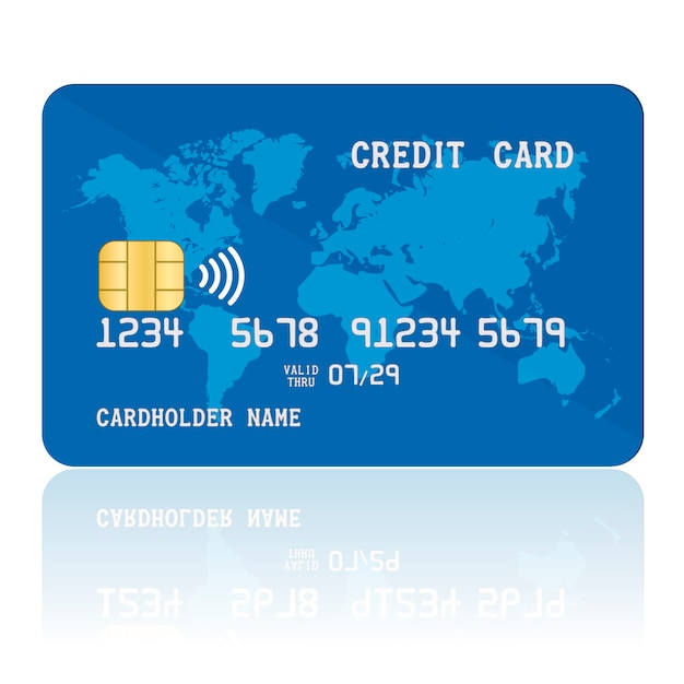 Cartão de crédito sem contato azul. Vetor Premium