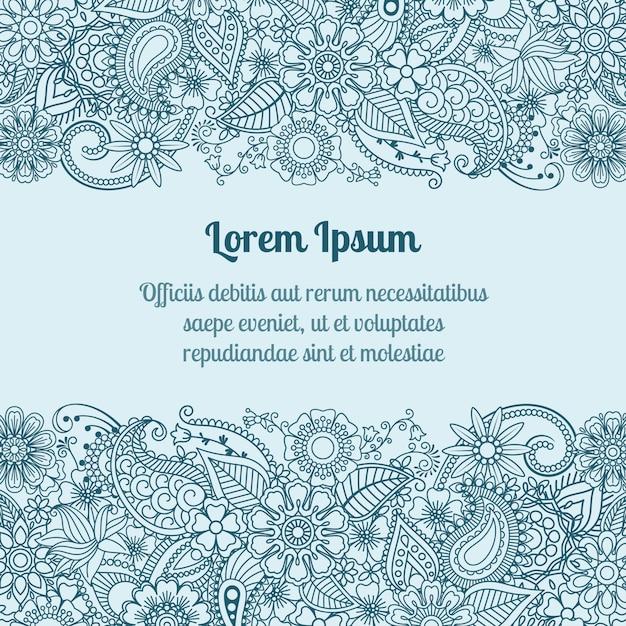 Cartão de cumprimentos de mehndi Vetor Premium