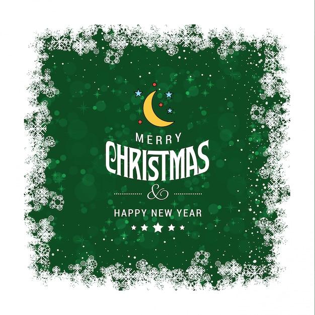 Cartão de cumprimentos de natal verde grunge Vetor grátis