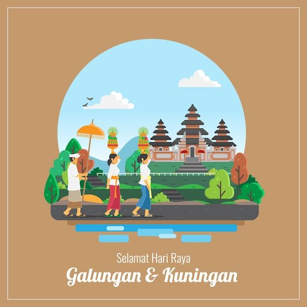 Cartão de cumprimentos do feriado de balingan e kuningan Vetor Premium