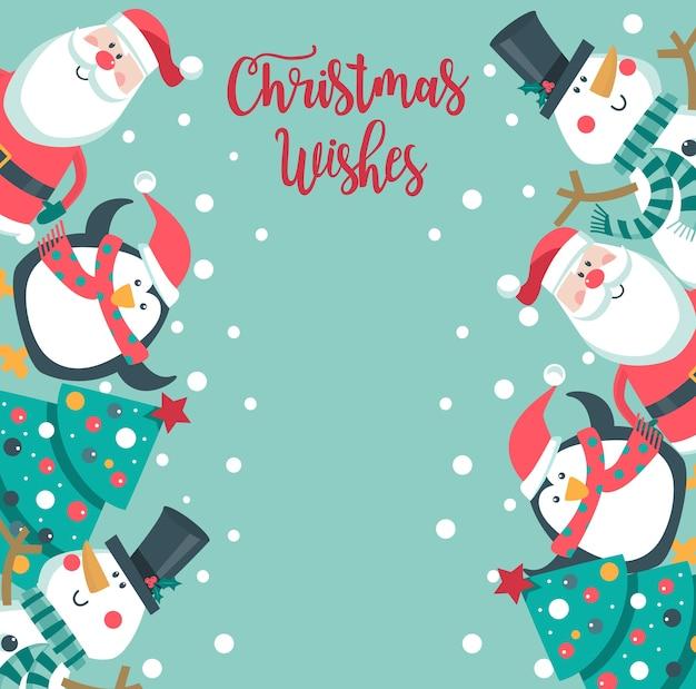 Cartão de desejos de natal. Vetor Premium