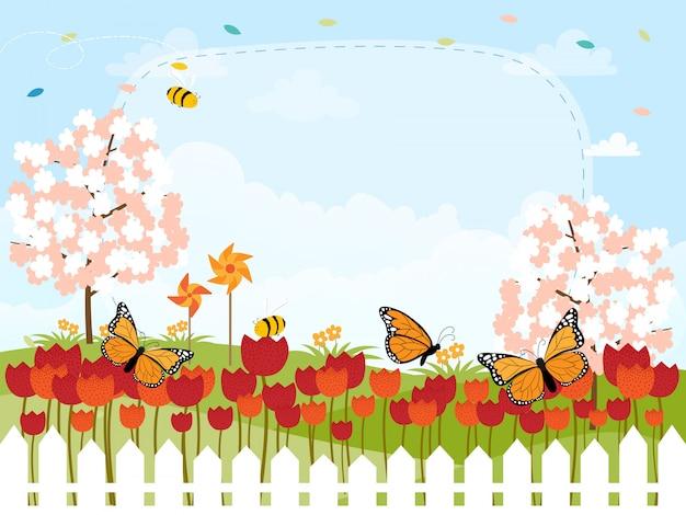 Cartão de desenhos animados para a temporada de primavera Vetor Premium