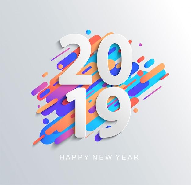 Cartão de design criativo ano novo 2019 Vetor Premium