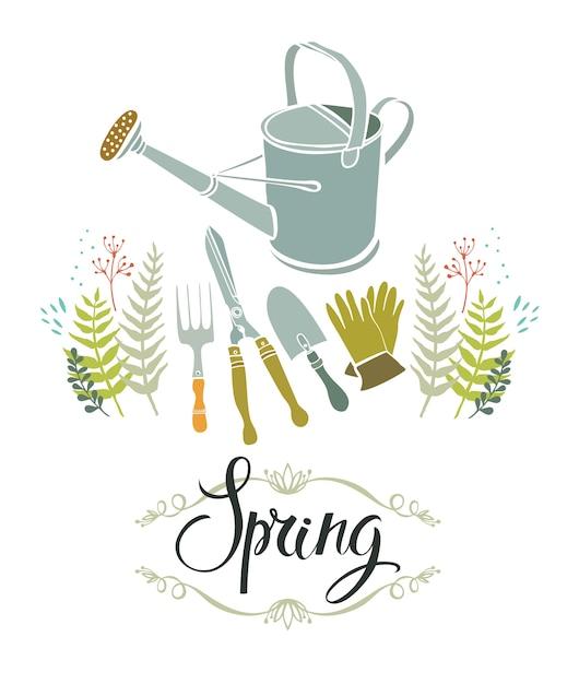 Cartão de design de jardinagem de primavera Vetor grátis
