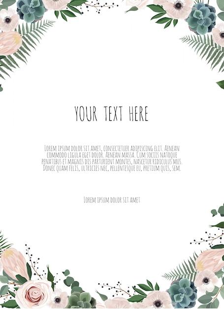 Cartão de design floral vetor. Vetor Premium