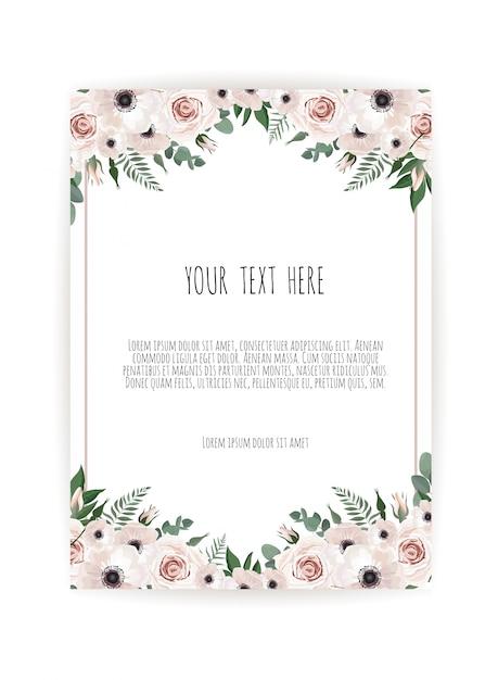 Cartão de design floral vetor Vetor Premium