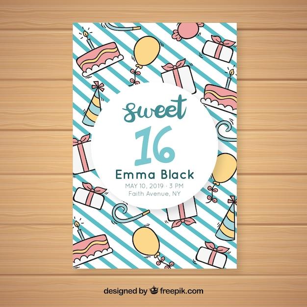 Cartão de dezesseis aniversários doodles Vetor grátis