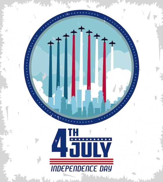 Cartão de dia da independência dos eua Vetor Premium