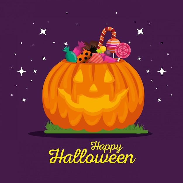 Cartão de dia das bruxas com abóbora e doces Vetor grátis