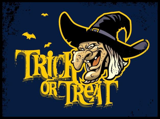 Cartão de dia das bruxas com cabeça de bruxa Vetor Premium