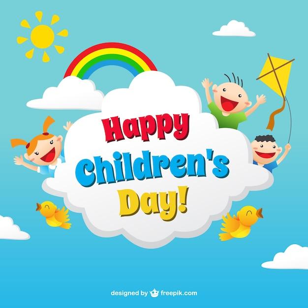Cartão de dia das crianças engraçados no estilo colorido ...