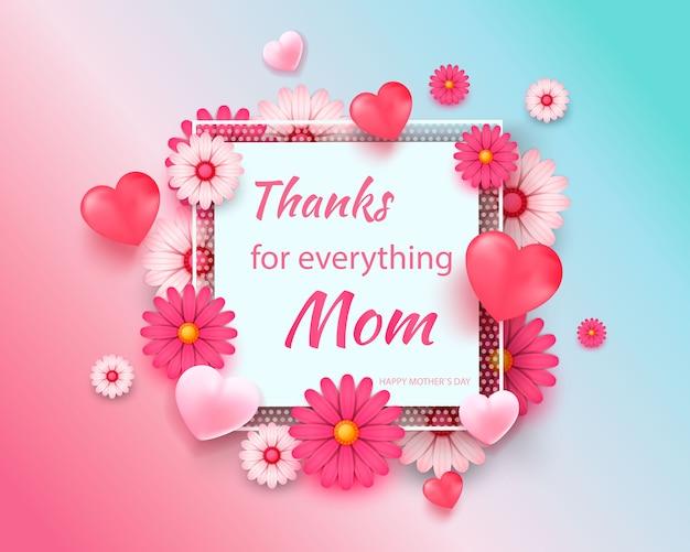 Cartão de dia das mães com moldura quadrada e flores de corte de papel no fundo geométrico moderno colorido. Vetor Premium