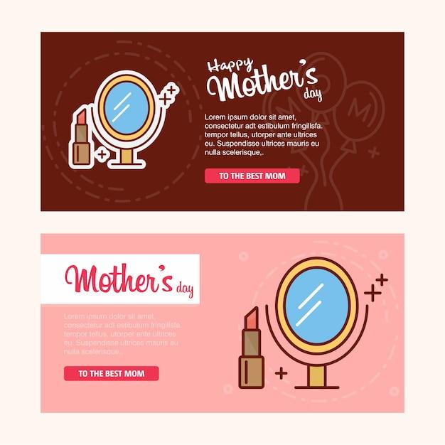 Cartão de dia das mães com o logotipo das mulheres e o vetor de tema rosa Vetor grátis