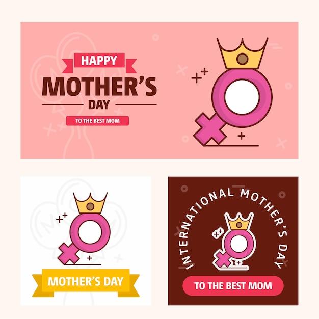 Cartão de dia das mães com tema rosa e logotipo Vetor Premium