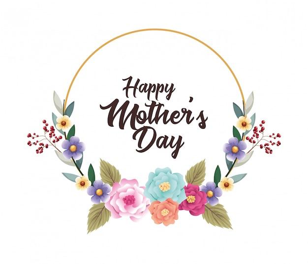 Cartão de dia das mães feliz com moldura circular de flores Vetor Premium