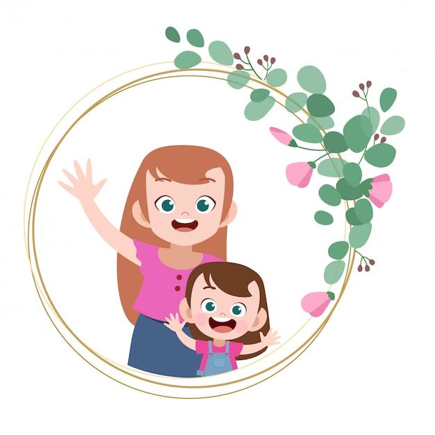 Cartão de dia das mães feliz saudação ilustração vetorial Vetor Premium