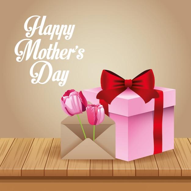 Cartão de dia das mães feliz Vetor Premium