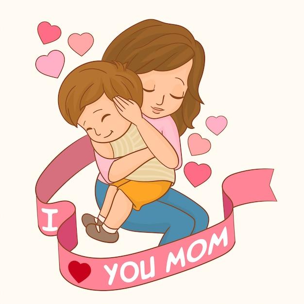 Cartão de dia das mães Vetor Premium
