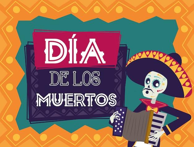 Cartão de dia de los muertos com mariachi crânio tocando acordeão Vetor Premium