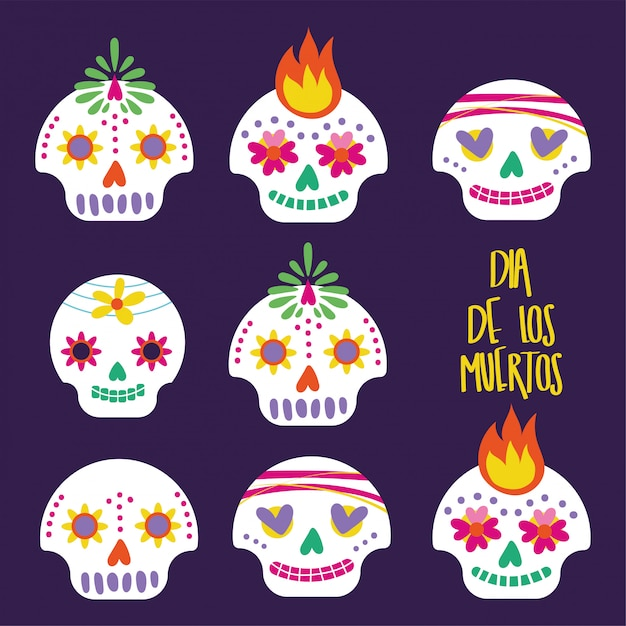 Cartão de dia de muertos com letras e caveiras Vetor grátis