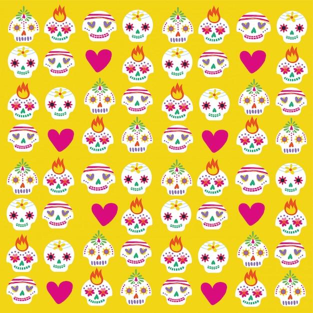 Cartão de dia de muertos com pacote de caveiras e corações Vetor grátis