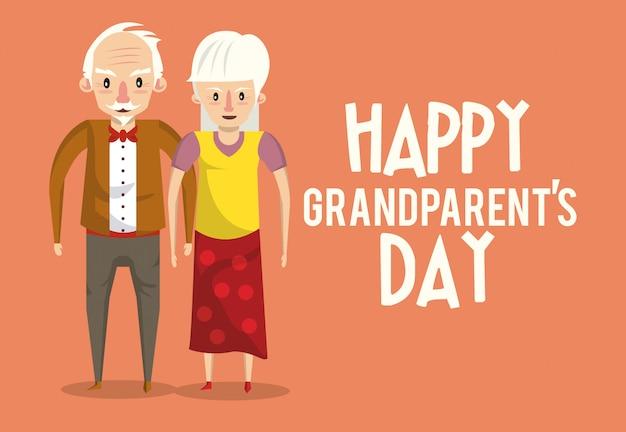 Cartão de dia dos avós feliz com desenhos animados Vetor Premium