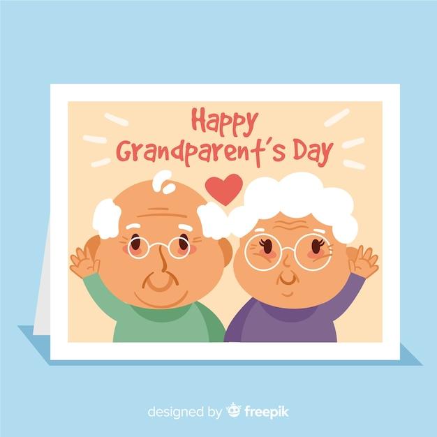 Cartão de dia dos avós feliz com personagens fofinhos de avô e avó Vetor grátis