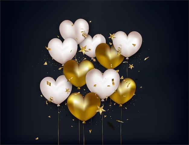 Cartão de dia dos namorados com balões brancos e dourados, confetes, estrelas 3d em fundo preto. Vetor Premium